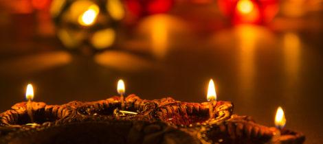 beautiful diwali lighting selective focus